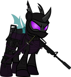 Size: 6000x6458 | Tagged: safe, alternate version, artist:n0kkun, sour sweet, changeling, armor, assault rifle, belt, body armor, boots, changelingified, clothes, commission, disguise, equestria girls ponified, female, freckles, gloves, gun, handgun, headset, jacket, katana, looking at you, m4a1, mare, mask, mercenary, ninja, pants, piercing, pistol, ponified, pouch, rifle, shoes, simple background, smiling, smirk, solo, species swap, submachinegun, sword, transparent background, ump45, weapon