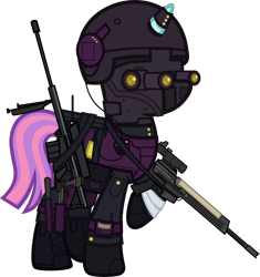 Size: 6000x6385 | Tagged: safe, alternate version, artist:n0kkun, sunny flare, pony, unicorn, ar-57, armor, assault rifle, auto-9, bag, bandage, belt, boots, c4, clothes, cobra assault cannon, commission, equestria girls ponified, female, gloves, goggles, gun, handgun, headset, helmet, knee pads, knife, mare, mask, mercenary, night vision goggles, pants, pistol, ponified, radio, raised hoof, rifle, robocop, saddle bag, shoes, simple background, solo, transparent background, watch, weapon, wristwatch