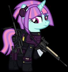 Size: 6000x6355 | Tagged: safe, alternate version, artist:n0kkun, sunny flare, pony, unicorn, ar-57, armor, assault rifle, auto-9, bag, bandage, belt, boots, c4, clothes, cobra assault cannon, commission, equestria girls ponified, eyeshadow, female, gloves, goggles, gun, handgun, headset, helmet, knee pads, knife, makeup, mare, mercenary, pants, pistol, ponified, radio, raised hoof, rifle, robocop, saddle bag, shoes, simple background, solo, transparent background, watch, weapon, wristwatch