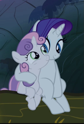 Size: 379x554 | Tagged: safe, screencap, rarity, sweetie belle, pony, unicorn, sleepless in ponyville, belle sisters, cropped, cuddling, cute, diasweetes, duo, female, raribetes, siblings, sisterbetes, sisters, sitting, smiling