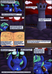 Size: 2894x4093 | Tagged: safe, artist:novaspark, oc, oc only, oc:nova spark, monster pony, original species, tatzlpony, comic:working for a mad mare, binoculars, comic, fangs, female, journal, solo, tower