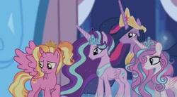 Size: 1080x596 | Tagged: safe, artist:diamond_confetti, edit, edited screencap, screencap, luster dawn, princess flurry heart, starlight glimmer, twilight sparkle, alicorn, pony, the last problem, twilight's kingdom, alicornified, female, jewelry, looking back, lustercorn, mare, older, older flurry heart, peytral, princess twilight 2.0, race swap, starlicorn, tiara, twilight sparkle (alicorn), worried, xk-class end-of-the-world scenario
