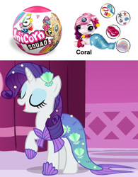 Size: 900x1152 | Tagged: safe, screencap, rarity, mermaid, merpony, unicorn, scare master, clothes, costume, mermarity, photo, toy, zuru 5 surprise