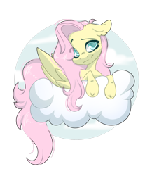 Size: 1280x1476 | Tagged: safe, artist:missclaypony, fluttershy, pegasus, pony, cloud, female, floppy ears, head tilt, mare, prone, simple background, solo, transparent background
