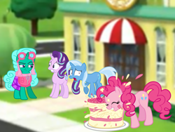 Size: 1440x1080 | Tagged: safe, artist:徐詩珮, glitter drops, pinkie pie, starlight glimmer, trixie, earth pony, pony, unicorn, series:sprglitemplight diary, series:sprglitemplight life jacket days, series:springshadowdrops diary, series:springshadowdrops life jacket days, alternate universe, cake, clothes, cute, eating, female, food, glitter drops is not amused, mare, paw patrol, skye (paw patrol), unamused