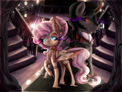 Size: 2000x1500 | Tagged: safe, artist:evehly, fluttershy, king sombra, crystal pony, pegasus, pony, unicorn, castle, clothes, colored wings, colored wingtips, crystal castle, crystal empire, crystallized, duo, ear piercing, earring, eyeshadow, female, hair bands, hairbands, jewelry, king sideburns, leg band, makeup, male, piercing, queen fluttershy, race swap, red wingtips, scarf, shipping, sombra eyes, sombrashy, straight, suit, twilight (time of day)