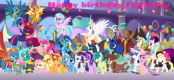 Size: 2340x1080 | Tagged: safe, artist:徐詩珮, applejack, capper dapperpaws, captain celaeno, discord, fizzlepop berrytwist, fluttershy, gallus, glitter drops, grubber, ocellus, pharynx, pinkie pie, princess cadance, princess celestia, princess ember, princess flurry heart, princess luna, princess skystar, queen novo, rainbow dash, rarity, sandbar, shining armor, silverstream, smolder, songbird serenade, spike, spring rain, starlight glimmer, sunset shimmer, tempest shadow, thorax, trixie, twilight sparkle, yona, alicorn, changedling, changeling, draconequus, dragon, earth pony, griffon, hedgehog, hippogriff, pegasus, pony, unicorn, yak, series:sprglitemplight diary, series:sprglitemplight life jacket days, series:springshadowdrops diary, series:springshadowdrops life jacket days, my little pony: the movie, spoiler:my little pony the movie, alternate universe, baby, baby pony, bisexual, broken horn, cake, chase (paw patrol), clothes, crying, cute, cutelestia, dashabetes, diaocelles, diapinkes, diastreamies, diatrixes, discute, dragoness, father and child, father and daughter, female, food, gallabetes, glimmerbetes, glitterbetes, glitterlight, glittershadow, grubberbetes, happy birthday, horn, jackabetes, king thorax, lesbian, lifeguard, lifeguard spring rain, lunabetes, magical quartet, magical trio, male, mane six, mare, marshall (paw patrol), mother and child, mother and daughter, paw patrol, polyamory, prince pharynx, raribetes, rocky (paw patrol), rubble (paw patrol), sandabetes, shimmerbetes, shiningcadance, shipping, shyabetes, skye (paw patrol), smolderbetes, songbetes, spikabetes, sprglitemplight, springbetes, springdrops, springlight, springshadow, springshadowdrops, stallion, straight, student six, tears of joy, tempest the birthday guest, tempestbetes, tempestlight, twiabetes, twilight sparkle (alicorn), wall of tags, whistle, winged spike, yonadorable, zuma (paw patrol)