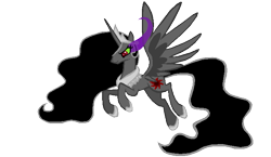 Size: 689x400 | Tagged: safe, artist:hootytoot, princess celestia, alicorn, pony, alternate universe, clothes, color change, correstia, corrupted, corrupted celestia, corruptia, dark celestia, dark equestria, dark magic, dark princess, dark world, darkened coat, darkened hair, darklestia, evil celestia, jewelry, magic, necklace, possessed, possesstia, regalia, shoes, simple background, solo, sombra eyes, story included, tiara, transparent background