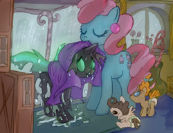 Size: 2000x1540 | Tagged: safe, artist:mandumustbasukanemen, cup cake, pound cake, pumpkin cake, changeling, earth pony, pegasus, pony, unicorn, foal, green changeling, rain, towel, wet