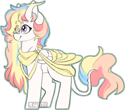 Size: 627x554 | Tagged: safe, artist:liefsong, oc, oc only, oc:rainbow dreams, pegasus, pony, cute, eye clipping through hair, female, horn, leonine tail, ribbon, simple background, solo, transparent background, two toned wings, wings