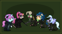Size: 7000x3891 | Tagged: safe, artist:n0kkun, indigo zap, lemon zest, sour sweet, sugarcoat, sunny flare, bat pony, earth pony, pegasus, pony, unicorn, aa-12, ak-12, ar-57, armor, assault rifle, auto-9, bandage, bandolier, belt, boots, bullet, camouflage, clothes, cobra assault cannon, commission, dirt, disguise, disguised changeling, dragunov, ear piercing, earring, equestria girls ponified, eyeshadow, fangs, female, fingerless gloves, freckles, glasses, gloves, goggles, green background, grin, gun, handgun, headband, headphones, helmet, holster, jacket, jewelry, karambit, knife, m4a1, mac-10, makeup, mare, mask, md, mercenary, minigun, mp5, night vision goggles, pants, piercing, pistol, ponified, pouch, radio, rifle, robocop, shadow five, shirt, shoes, shotgun, simple background, smiling, sniper, sniper rifle, submachinegun, tattoo, ump45, uzi, visor, walkie talkie, watch, weapon, wristwatch
