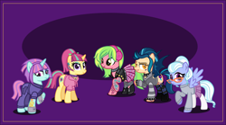 Size: 7000x3891 | Tagged: safe, artist:n0kkun, indigo zap, lemon zest, sour sweet, sugarcoat, sunny flare, bat pony, earth pony, pegasus, pony, unicorn, boots, choker, clothes, commission, disguise, disguised changeling, ear piercing, earring, equestria girls ponified, eyebrow piercing, eyeshadow, female, glasses, headband, headphones, hoodie, jacket, jewelry, jumpsuit, leather jacket, lip piercing, makeup, mare, nose piercing, piercing, ponified, purple background, shadow five, shoes, simple background, skirt, socks, spiked choker, spiked wristband, stockings, striped socks, sunny flare's wrist devices, sweater, tattoo, thigh highs, torn clothes, wristband