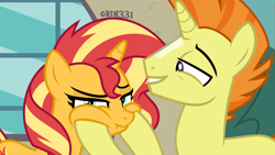 Size: 4000x2250 | Tagged: safe, artist:orin331, edit, edited screencap, screencap, sunset shimmer, sunspot (character), pony, unicorn, absurd resolution, chipmunk cheeks, father and child, father and daughter, female, looking at you, male, siblings, squishy cheeks, sunny siblings