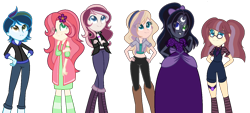 Size: 1386x626 | Tagged: safe, artist:astral-sunlight, artist:malachitebases, oc, oc only, oc:andromeda, oc:angelina, oc:astral sunlight, oc:aurora, oc:brave night, oc:magical harmony, equestria girls, base used, boots, clothes, crossed arms, dress, eye clipping through hair, female, females only, flower, flower in hair, freckles, glasses, hairband, hand on hip, heterochromia, magical lesbian spawn, midriff, necktie, next generation, off shoulder, offspring, pants, parent:applejack, parent:big macintosh, parent:flash sentry, parent:fluttershy, parent:king sombra, parent:princess luna, parent:rainbow dash, parent:rarity, parent:soarin', parent:sunburst, parent:sunset shimmer, parent:sunstone (g4 r63 sunburst), parent:twilight sparkle, parents:flashburst, parents:fluttermac, parents:lumbra, parents:rarijack, parents:soarindash, parents:sunsetsparkle, shirt, shoes, shorts, simple background, socks, striped socks, transparent background