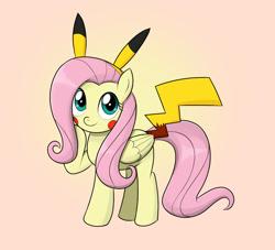 Size: 1100x1000   Tagged: safe, artist:mew-me, fluttershy, pegasus, pikachu, pony, clothes, cosplay, costume, cute, pokémon, shyabetes