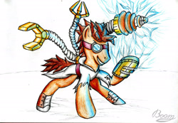Size: 2470x1706 | Tagged: safe, artist:bomzzzik, doctor whooves, time turner, earth pony, pony, augmented, clothes, goggles, grin, hooves, mad doctor whooves, male, signature, simple background, smiling, solo, stallion, traditional art, white background