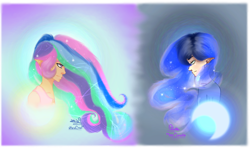 Size: 2202x1311 | Tagged: safe, artist:moondaneka2405, princess celestia, princess luna, human, abstract background, bust, clothes, crescent moon, duo, elf ears, ethereal mane, female, humanized, moon, siblings, signature, sisters, starry mane