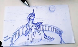 Size: 1280x771 | Tagged: safe, artist:moondaneka2405, princess luna, alicorn, pony, balcony, female, full moon, irl, leonine tail, lineart, looking up, mare, moon, pen, photo, raised hoof, signature, solo, traditional art