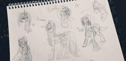 Size: 1280x622 | Tagged: safe, artist:moondaneka2405, princess luna, alicorn, earth pony, pony, armor, bust, female, fierce deity mask, irl, lineart, link, male, mare, mask, notepad, open mouth, photo, stallion, the legend of zelda, the legend of zelda: majora's mask, traditional art, triforce