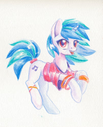 Size: 792x978 | Tagged: safe, artist:maytee, dj pon-3, vinyl scratch, pony, unicorn, bracelet, clothes, colored pencil drawing, cute, female, jewelry, mare, shirt, simple background, smiling, solo, traditional art, vinylbetes, white background