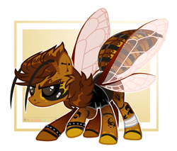 Size: 1917x1636 | Tagged: safe, artist:beautifulspaceshow, oc, oc only, oc:hōnetto, asian giant hornet, hornet, hornet pony, insect, original species, pony, antennae, bandage, bandaid, black sclera, clothes, colored sclera, creepy, ear piercing, earring, eyebrow piercing, female, jacket, jewelry, leather jacket, lip piercing, mare, nose piercing, piercing, punk, raised hoof, scar, solo, spiked wristband, tattoo, wristband