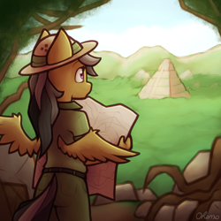 Size: 2000x2000 | Tagged: safe, artist:ohemo, daring do, anthro, pegasus, atg 2020, clothes, explorer, explorer outfit, female, high res, map, newbie artist training grounds, pyramid, solo, temple