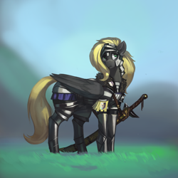 Size: 3000x3000 | Tagged: safe, artist:nsilverdraws, oc, oc only, oc:veen sundown, horse, pegasus, pony, armor, badge, female, fur, grass, guard, guardsmare, helmet, high res, mare, royal guard, scabbard, solo, standing, sundown clan, sword, weapon