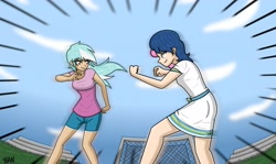 Size: 2655x1584 | Tagged: safe, artist:banquo0, bon bon, lyra heartstrings, sweetie drops, human, all's fair in love and friendship games, equestria girls, clothes, dress, fight, fighting stance, rivalry, scene interpretation, shorts