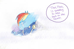 Size: 1280x853 | Tagged: safe, artist:jeyjeymohr, part of a set, rainbow dash, pegasus, pony, alternate timeline, alternate universe, amputee, apocalypse dash, armor, artifact, artificial wings, augmented, blizzard, clothes, crystal war timeline, dark, dark equestria, dark world, frozen north, part of a series, prosthetic limb, prosthetic wing, prosthetics, reality cube, scar, snow, snowfall, solo, sombra empire, tumblr:ask midnight crystal, uniform, wings, word balloon, word bubble