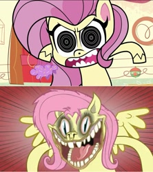 Size: 739x834 | Tagged: safe, artist:hotdiggedydemon, edit, screencap, fluttershy, pegasus, pony, .mov, shed.mov, cute-pocalypse meow, my little pony: pony life, spoiler:pony life s01e03, angry, cupcake, flutterrage, food, nightmare fuel, pony.mov, solo, tablet, treehouse logo