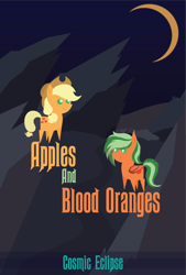 Size: 8101x12011   Tagged: safe, artist:cosmiceclipsed, applejack, oc, oc only, oc:citrus swirl, bat pony, earth pony, pony, duo, fanfic, fanfic art, fanfic cover, female, hollow shades, mare, moon, poster