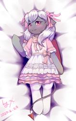 Size: 648x1024   Tagged: safe, artist:ninebuttom, oc, oc:灰喵喵, bat pony, bow, clothes, devil tail, dress, hair bow, lolita fashion, stockings, thigh highs