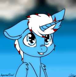 Size: 2108x2128 | Tagged: safe, artist:imperial_crest, oc, oc:imperial crest, alicorn, alicorn oc, blue background, blue eyes, cute, horn, male, simple background, smiling, stallion, wings