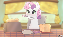 Size: 5000x3000 | Tagged: safe, artist:almond evergrow, sweetie belle, pony, unicorn, absurd resolution, blushing, bread, cute, diasweetes, female, filly, food, jam, knife, morning, mouth hold, solo, table, this will end in fire, toast, toaster, weapons-grade cute, window
