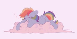 Size: 1748x895 | Tagged: safe, artist:d__samber, rainbow dash, pegasus, pony, cloud, cute, dashabetes, eyes closed, female, mare, on a cloud, onomatopoeia, prone, simple background, sleeping, solo, sound effects, white background, zzz