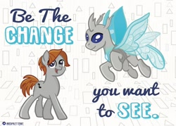 Size: 1280x915 | Tagged: safe, artist:redpalette, oc, oc:sawtooth waves, changeling, earth pony, changeling oc, duality, earth pony oc, fanart, flying, male, quote, self ponidox, smiling, stallion, youtuber