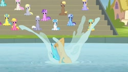Size: 1920x1080 | Tagged: safe, screencap, amethyst star, berry punch, berryshine, cherry berry, cloud kicker, coco crusoe, derpy hooves, lemon hearts, lightning bolt, minuette, royal riff, sparkler, spring melody, sprinkle medley, sunshower raindrops, twinkleshine, white lightning, earth pony, pegasus, pony, unicorn, leap of faith, background pony, female, legs, male, mare, pictures of legs, splash, stallion, unnamed character, unnamed pony