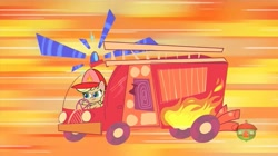 Size: 1513x849 | Tagged: safe, screencap, applejack, how applejack got her hat back, my little pony: pony life, spoiler:pony life s01e04, driving, fire engine, firefighter helmet, firemare jack, helmet, treehouse logo, truck, vehicle