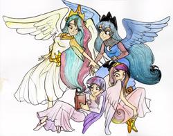 Size: 2769x2166 | Tagged: safe, artist:tamatria, princess cadance, princess celestia, princess luna, twilight sparkle, human, alicorn tetrarchy, book, clothes, dress, humanized, twilight sparkle (alicorn), winged humanization, wings