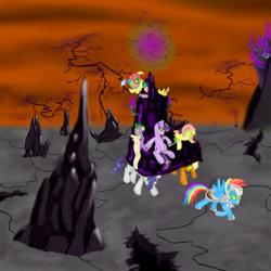 Size: 1000x1000 | Tagged: safe, artist:coporaptor, applejack, fluttershy, pinkie pie, rainbow dash, rarity, spike, twilight sparkle, earth pony, pegasus, pony, unicorn, alternate universe, armor, bad end, carrying, clothes, corrupted, corrupted twilight sparkle, crystal armor, crystal throne, dark, dark castle, dark equestria, dark magic, dark queen, dark twilight, dark twilight sparkle, dark world, darklight, darklight sparkle, evil twilight, female, food, glowing eyes, glowing horn, grapes, horn, jester pie, jewelry, leash, list, magic, mane six, mind control, possessed, queen twilight, queen twilight sparkle, scroll, septet, sombra empire, sombra eyes, sombrafied, summary included, throne, tiara, twilight is anakin, tyrant sparkle, unicorn twilight