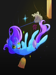 Size: 1494x2004 | Tagged: safe, artist:overlord pony, oc, oc only, oc:untitled work, black background, broom, drugs, duster, falling, female, green eyes, lsd, mare, mop, open mouth, simple background, smiling, solo, sparkles, starry eyes, trap door, wingding eyes, wood
