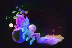 Size: 3120x2109 | Tagged: safe, artist:overlord pony, oc, oc only, oc:untitled work, duster, earth, female, flower, grass, green eyes, hooves, mare, moon, open mouth, reaching out, rock, sand, smiling, sparkle, stars, sun, water
