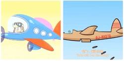 Size: 1015x505 | Tagged: safe, edit, screencap, applejack, how applejack won the war, how applejack got her hat back, my little pony: pony life, spoiler:pony life s01e04, caption, flyerjack, plane