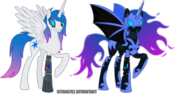 Size: 3964x2159 | Tagged: safe, artist:kitana762, nightmare moon, oc, oc:vortex glow, alicorn, cyber pony, cyborg, pony, fallout equestria, amputee, armor, artificial alicorn, bat wings, ethereal mane, fallout equestria: unity redux, female, glowing eyes, power armor, simple background, transparent background, unity, wings