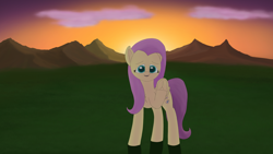 Size: 3840x2160 | Tagged: safe, artist:astralr, fluttershy, pegasus, pony, cloud, female, frog (hoof), grass, happy, looking at you, mare, mountain, solo, sunset, underhoof, waving