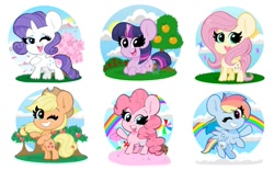 Size: 1745x1080 | Tagged: safe, artist:kittyrosie, applejack, fluttershy, pinkie pie, rainbow dash, rarity, twilight sparkle, alicorn, earth pony, pegasus, unicorn, my little pony: pony life, candy, cute, dashabetes, diapinkes, food, jackabetes, mane six, one eye closed, open mouth, rainbow, raribetes, shyabetes, smiling, tree, twiabetes, twilight sparkle (alicorn), wink