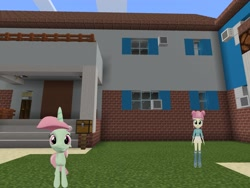 Size: 2048x1536 | Tagged: safe, artist:topsangtheman, majorette, minty bubblegum, sweeten sour, pony, unicorn, equestria girls, 3d, house, looking at you, minecraft, photoshopped into minecraft, source filmmaker
