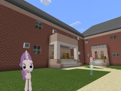 Size: 2048x1536 | Tagged: safe, artist:topsangtheman, majorette, starlight glimmer, sweeten sour, pony, unicorn, equestria girls, 3d, house, looking at you, minecraft, photoshopped into minecraft, source filmmaker