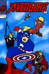 Size: 266x398 | Tagged: safe, artist:johnathon-matthews, oc, oc:commander firebrand, oc:firebrand, human, pony, unicorn, captain america, commission, fanfic, fanfic art, fanfic cover, hawkeye, iron man, marvel, obtrusive watermark, the avengers, thor, watermark