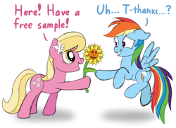 Size: 2000x1450   Tagged: safe, artist:nitei, lily, lily valley, rainbow dash, earth pony, pegasus, pony, atg 2020, dialogue, duo, female, flower, flower in hair, flying, mare, newbie artist training grounds, scared, simple background, sunflower, this will not end well, white background